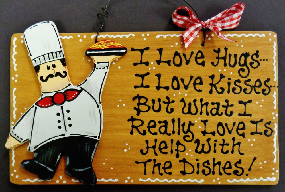 FAT CHEF Hugs/Kisses/Dishes KITCHEN SIGN Wall Hanger Plaque Cucina ...