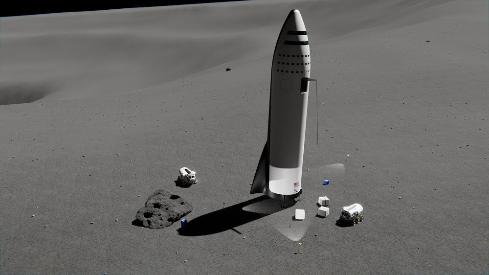 Unloading Cargo From Spacex Bfr Spaceship On The Moon Spacex