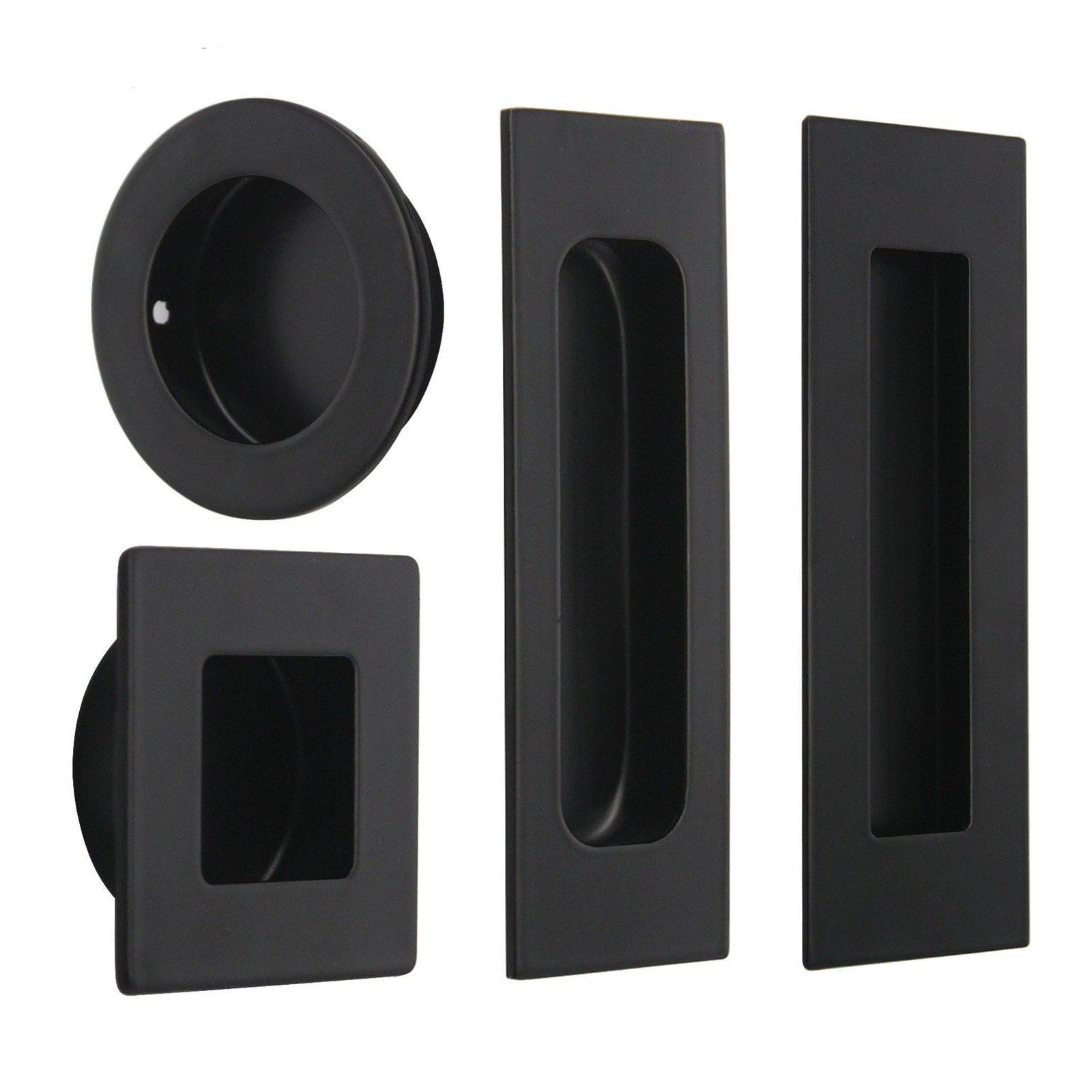 Probrico Black Finish Flush Door Pull Recessed Cabinet Handles