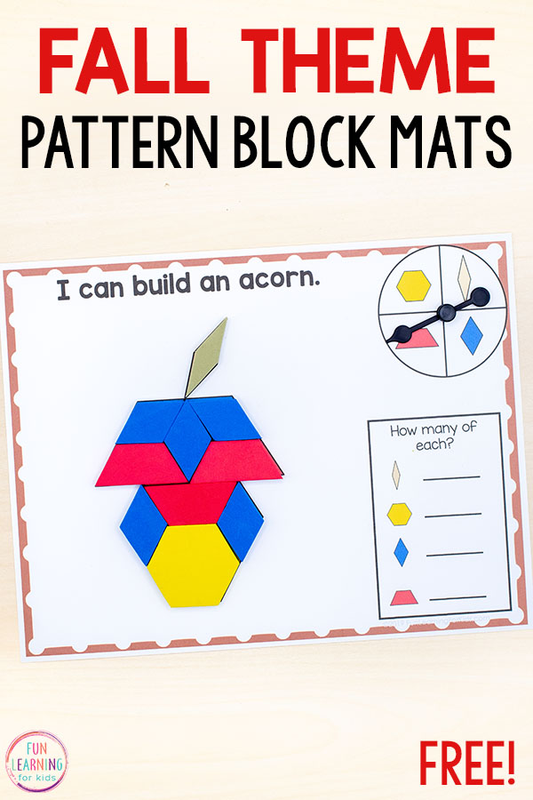 Fall Pattern Block Mats Pattern Blocks Math Blocks Beginning