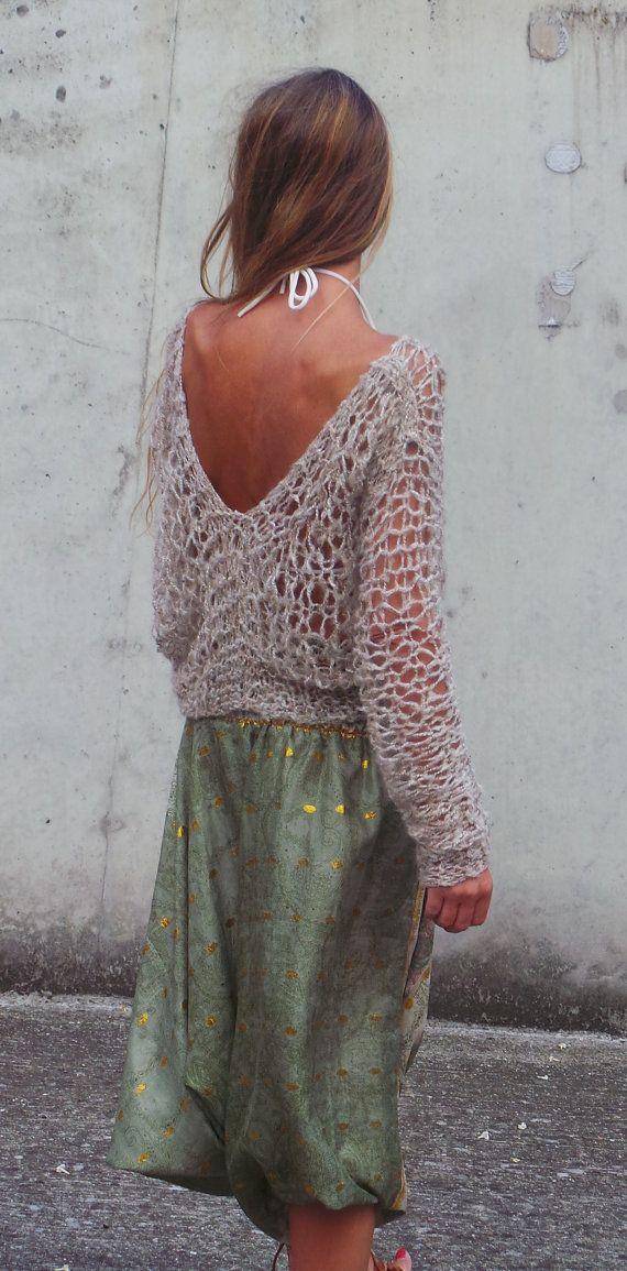 suéter beige / boho v.neck amarillento suelta suéter de punto / POR ...