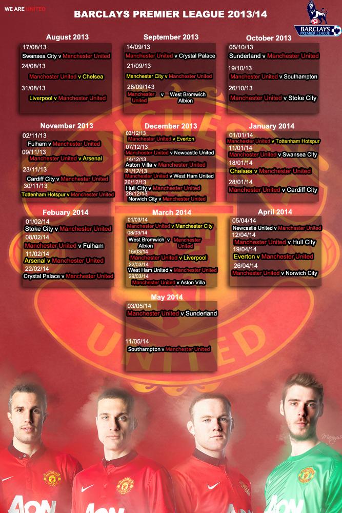 Man Utd Fixtures 2013 14 By Marayu9 Deviantart Com On Deviantart Man Utd Fixtures Man Fixtures