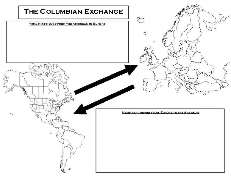 Columbian Exchange Worksheet Kidz Activities