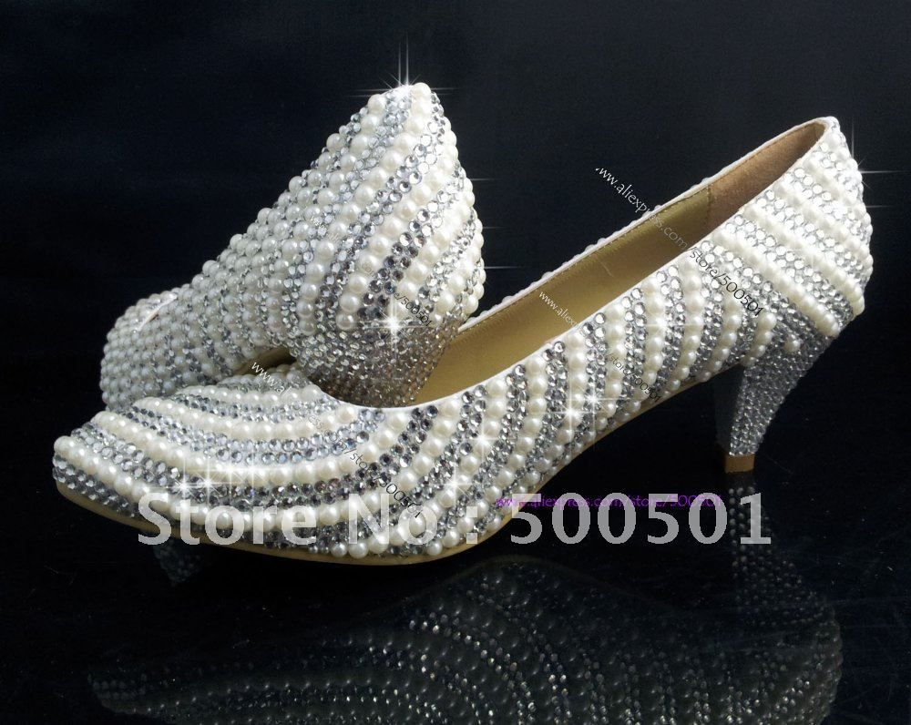 Aliexpress 2 Inch Low Heel Wedding Shoes Pearl Swarovski Crystal Bridal Party