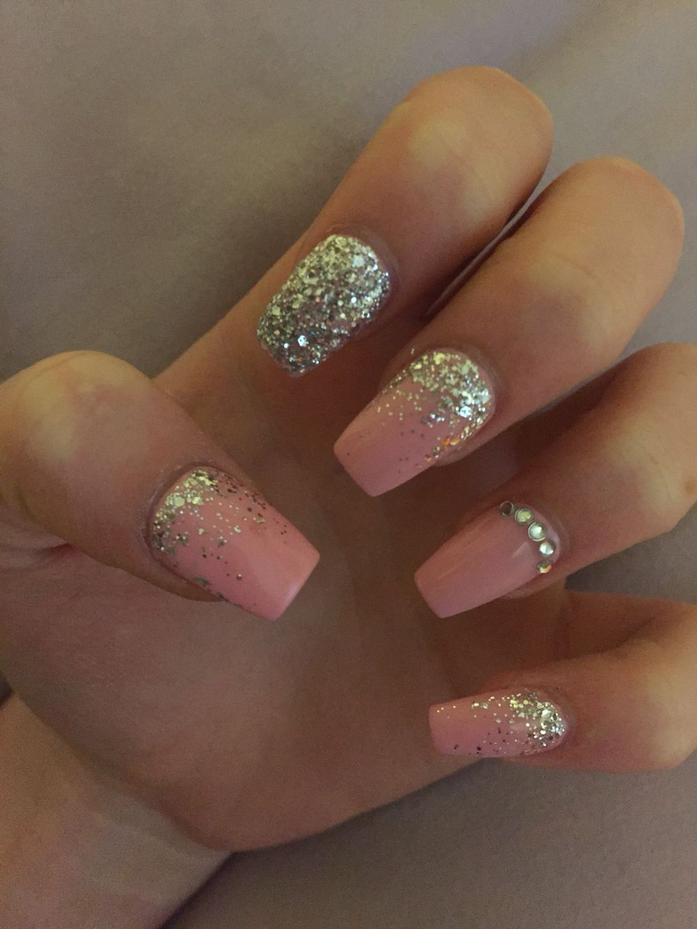 Pink Silver Coffin Gel Acrylic Nails For Prom Ombre Sparkles Small Stones Pink Acrylic Nails Prom Nails Silver Prom Nails