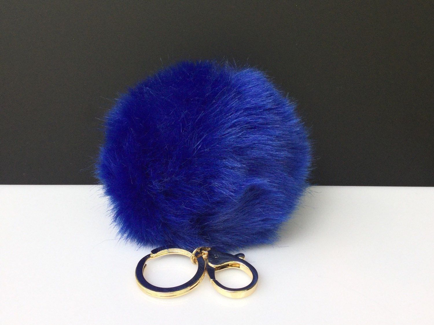 f29a4b7e8063 Faux Rabbit Fur Pom Pom bag Keyring Hot Couture Novelty keychain pom pom  fake fur ball in deep blue by YogaStudio55 on Etsy