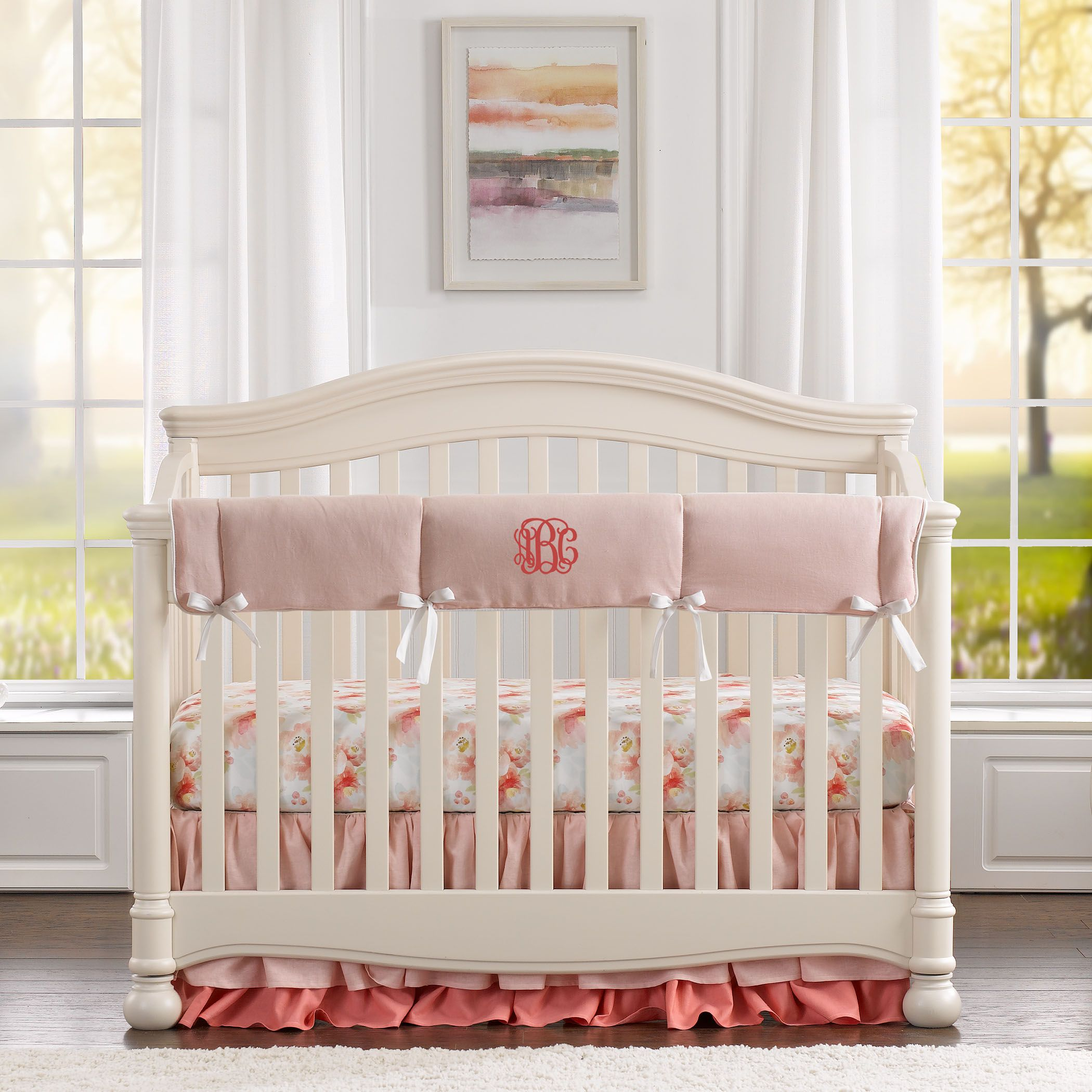 Floral Nursery Bedding Best Pink Watercolor Floral Bumperless Crib Bedding  Pink Watercolor Design Ideas