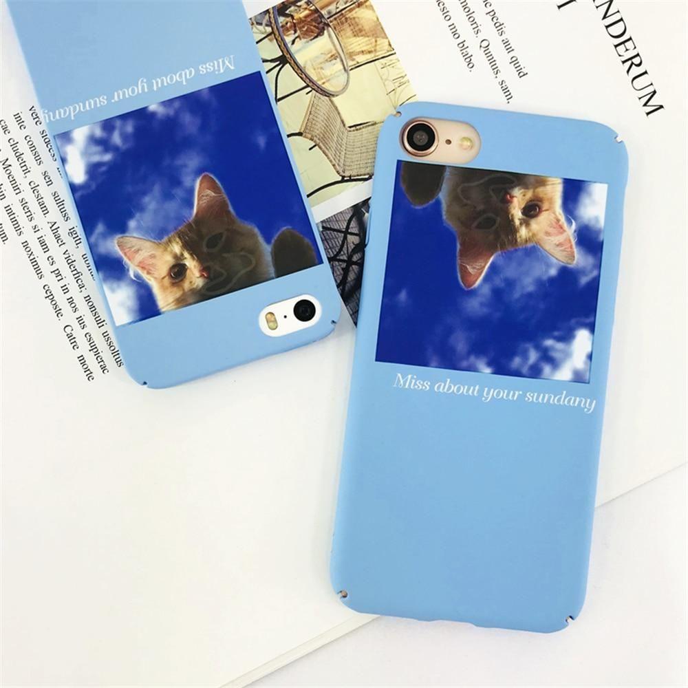 Cases For Iphone 7 Simple Cute Cartoon Blue Sky Cat Phone