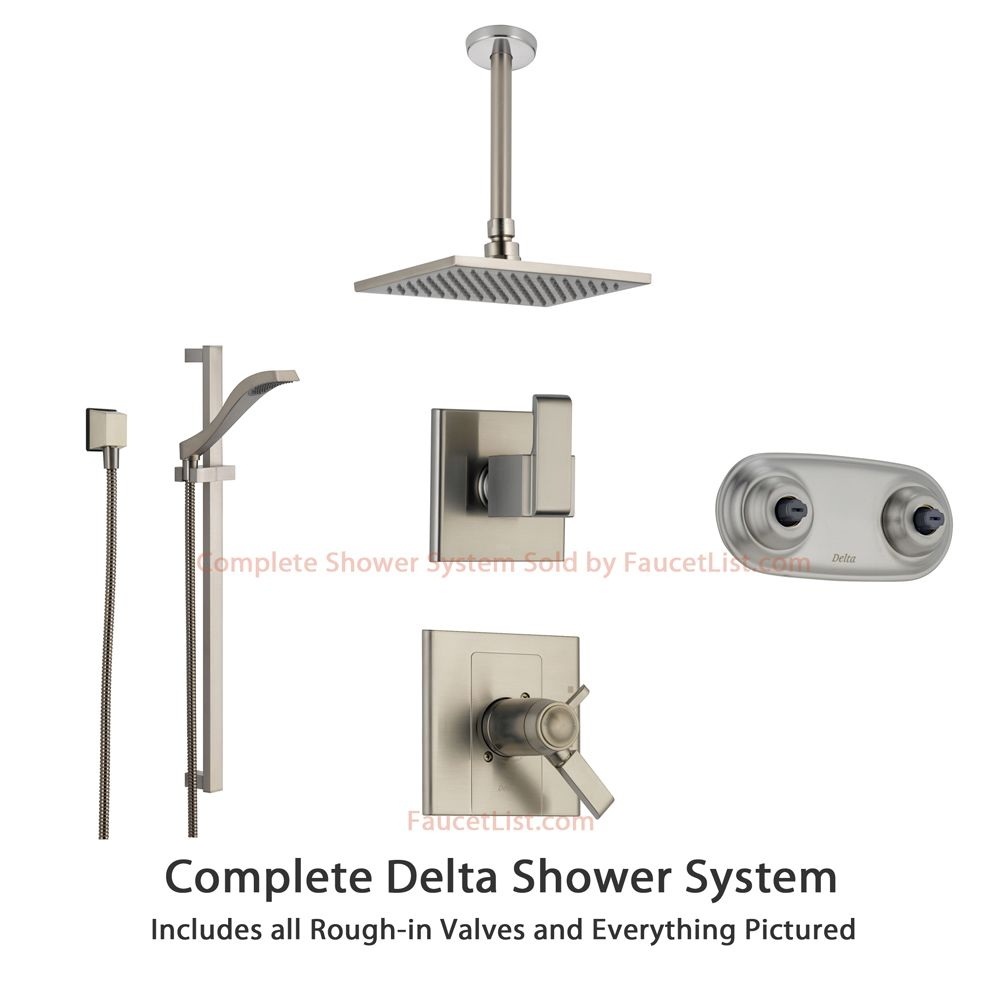 delta arzo stainless steel shower system with shower handle 6setting diverter