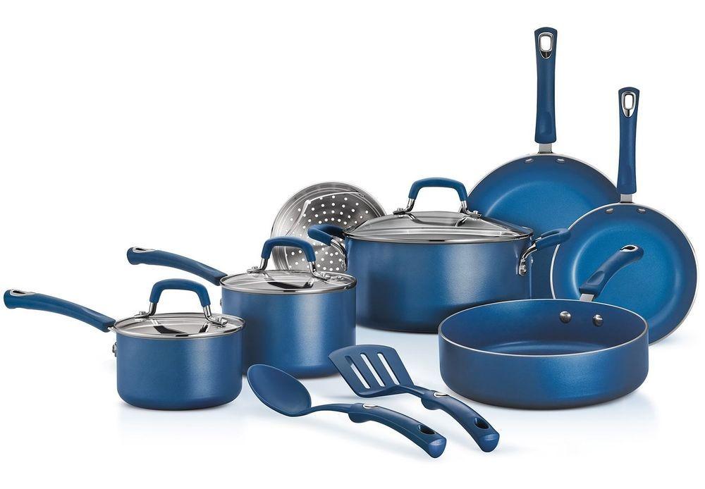Tramontina 12 Piece Mediterranean Blue Non Stick Cookware Set