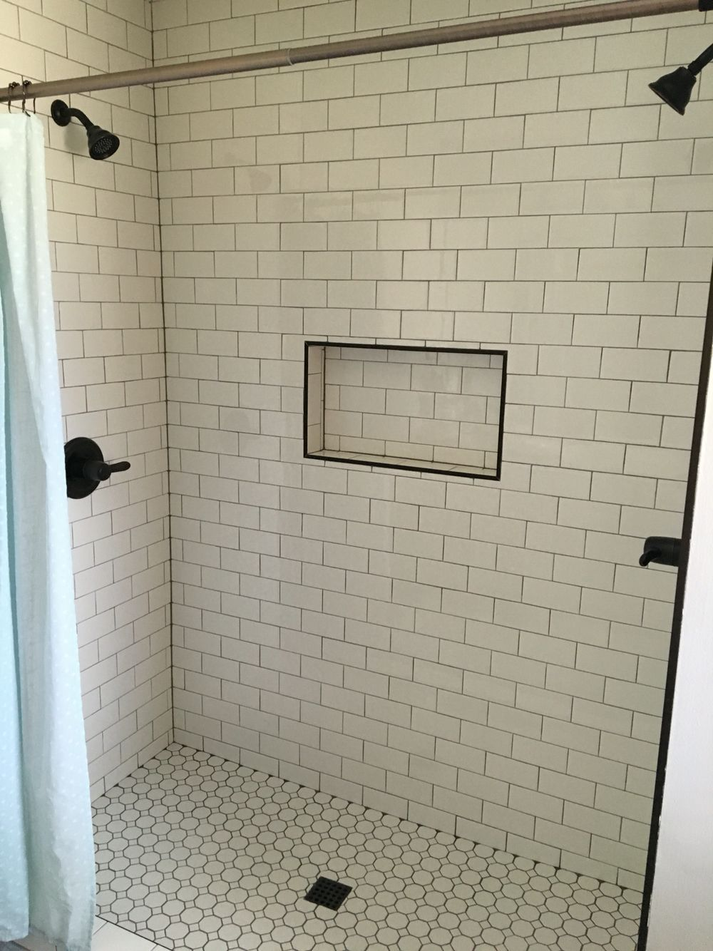 Dual Shower Heads And Subway Tile Master Bedroom