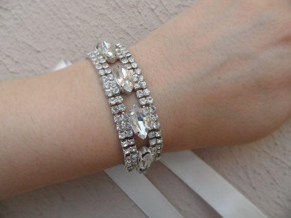 Crystal bracelet wedding bracelet bridal jewelry by WEDDINGHome, $42.00