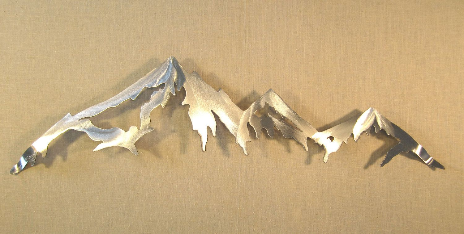 Mountain Range Cascade Mountains Metal Wall Art Home Decor Log Cabin ...