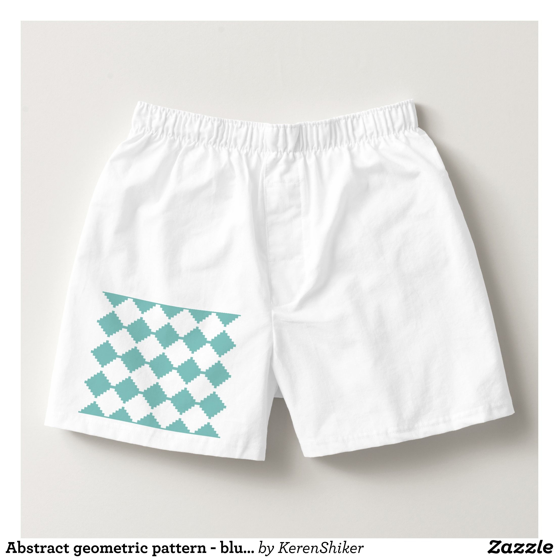 Abstract geometric pattern - blue and white. boxers - Dashing Cotton Underwear And Sleepwear By Talented Fashion And Graphic Designers - #underwear #boxershorts #boxers #mensfashion #apparel #shopping #bargain #sale #outfit #stylish #cool #graphicdesign #trendy #fashion #design #fashiondesign #designer #fashiondesigner #style
