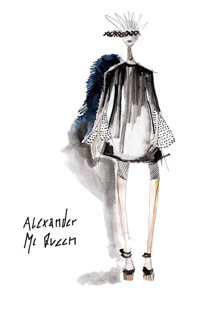 fashion alexander mcqueen fashion illustrations pinterest mode collage plakat design. Black Bedroom Furniture Sets. Home Design Ideas