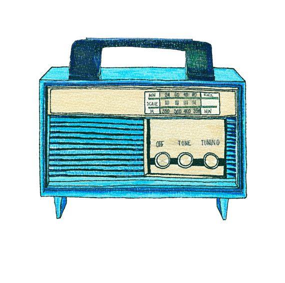 Print Illustration Modern Vintage Radio Drawing Artwork Mens Bedroom Boys Wall Decor Colour Kitchen Art Blue Birth Radio Drawing Vintage Radio Boys Wall Decor