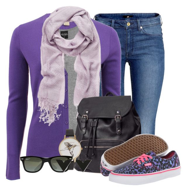 """Purple"" by flavoka-tigre ❤ liked on Polyvore featuring H&M, Michael Kors, Forever New, Vans, Olivia Burton and Ray-Ban"