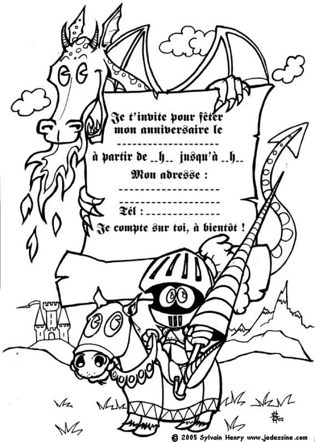 Coloriage Invitation Anniversaire.Coloriage D Un Dragon Et D Un Chevalier Anniv Kids