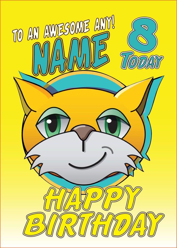 Minecraft STAMPY CAT Personalised Birthday Card FREE