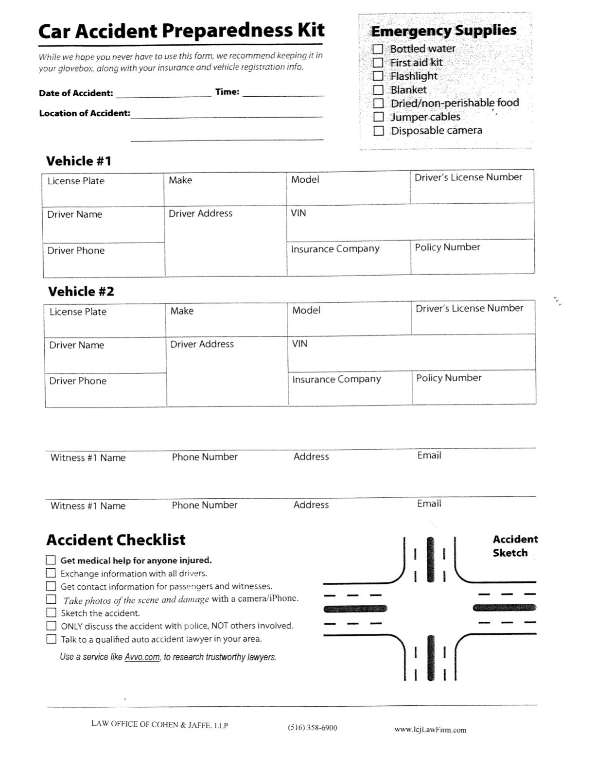 caraccidentchecklist to keep in your glove box. It helps