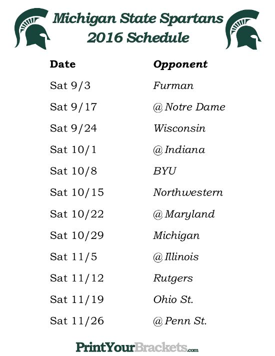 Printable Michigan State Spartans Football Schedule 2016 Penn State Nittany Lions Football Michigan State Football Oregon Ducks Football Schedule
