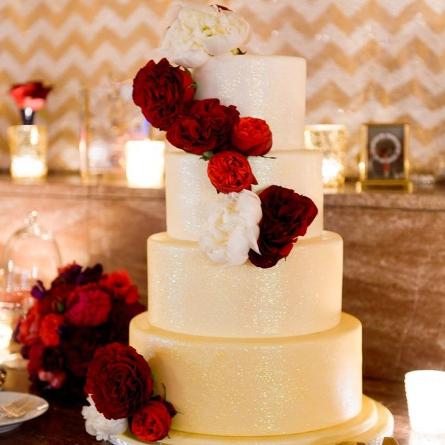 Beautiful Wedding Cakes By The Baking Grounds Bakery Café: Ombre Gold And Glitter Wiedding Cake With Rich Red Cabbage