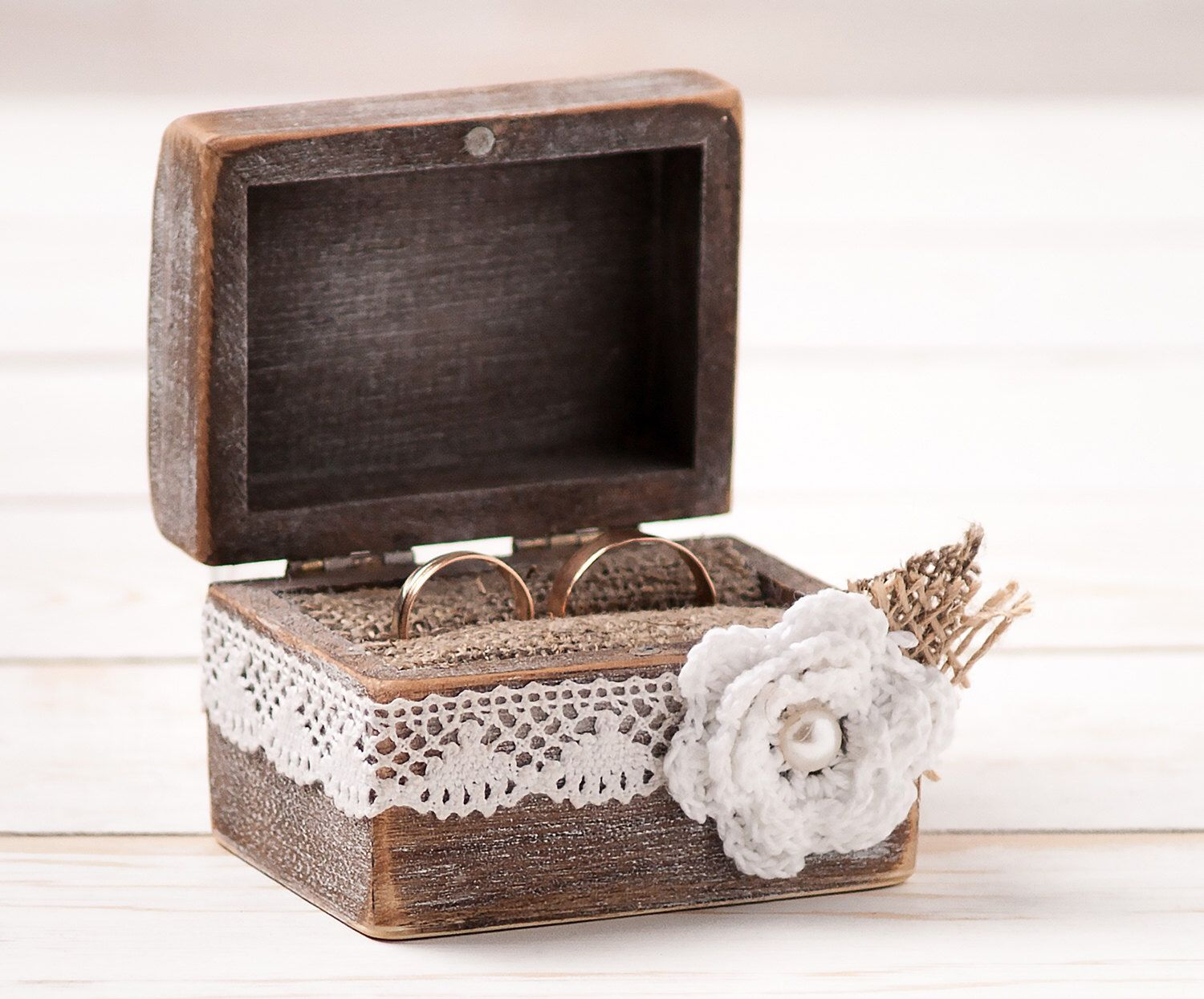 Engagement ring box christmas ornament - Wedding Ring Box Ring Bearer Pillow Box With White Fabric Flower Wooden Engagement Ring Box Burlap And Lace Love Rustic Unique