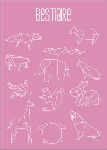 Geometric Animals Art Print by Alix Leroy