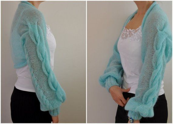 Womens Sweater Cardigan Jacket Shrug Bolero Bridal Shrug Hand Knit ...