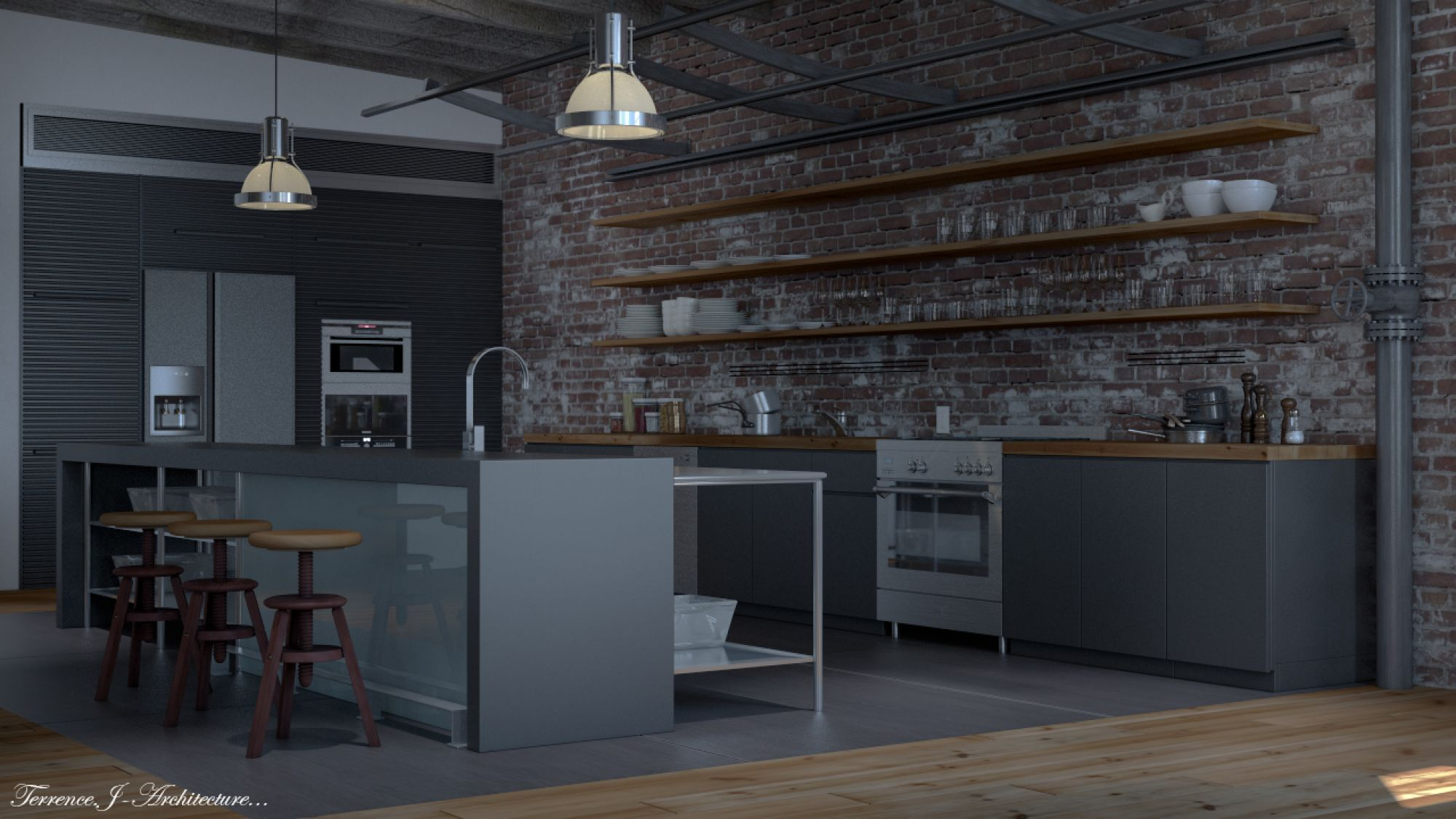industrial residential kitchen - Google Search