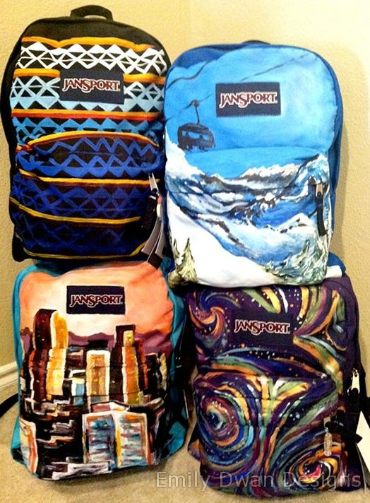 9ca48461471a Hand painted Jansport backpacks. EmilyDwan.com