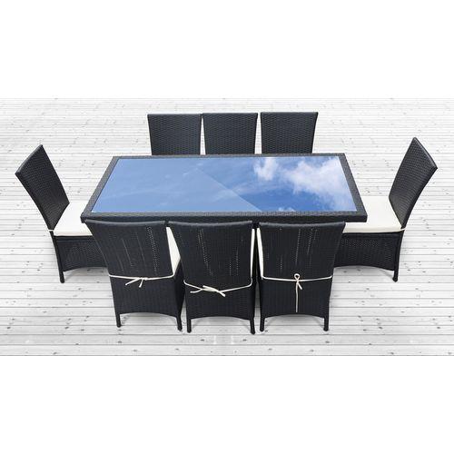 Salon De Jardin Zagora 8: Table 8 Fauteuils En Resine Tressee Luxe ...