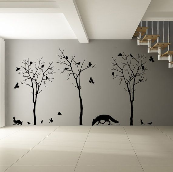 Vinyl Wall Decal Forest Trees Fox Flock Of Birds Rabbit - How to make vinyl wall decals with silhouette cameo