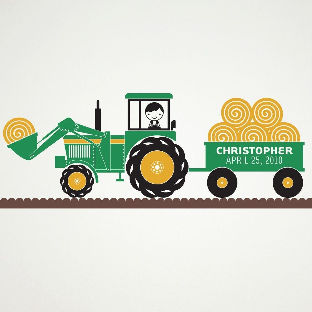 Tractor Boy Wall Decal Personalized Name Hay Wagon Farm Theme