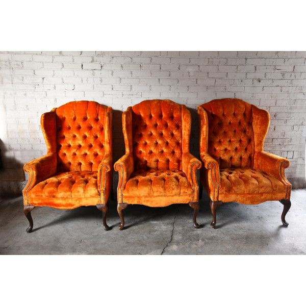 velvet tufted chair folding plans wood 3 vintage orange wingback chairs 37 liked on polyvore featuring home furniture wing back