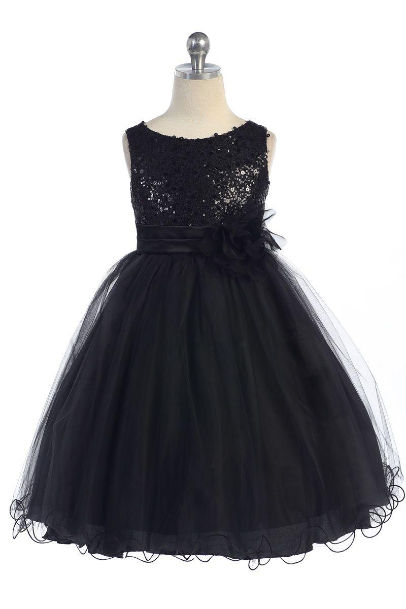 Gorgeous black sequined round neck tulle overlayed girl dress k