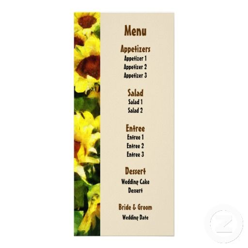 Field of Sunflowers Wedding Menu  by Susan Savad -- Sunflower wedding menu that you can customize yourself. #wedding #weddingmenu #weddingmenus #customize #flower #flowers #sunflower #sunflowers #gettingmarried #summer   $0.55  per card   BULK PRICING AVAILABLE!