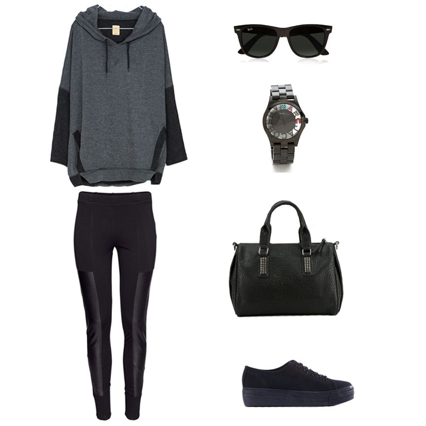 Vegan outfit featuring a Zara sweatshirt, H&M leggings, a vegan leather purse and shoes from Urban Outfitters, Marc by Marc Jacobs Watch, an...