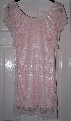 Peach lace mini dress 60s Mod style dolly dress ICHI Size 8 - 10  MAKE AN OFFER