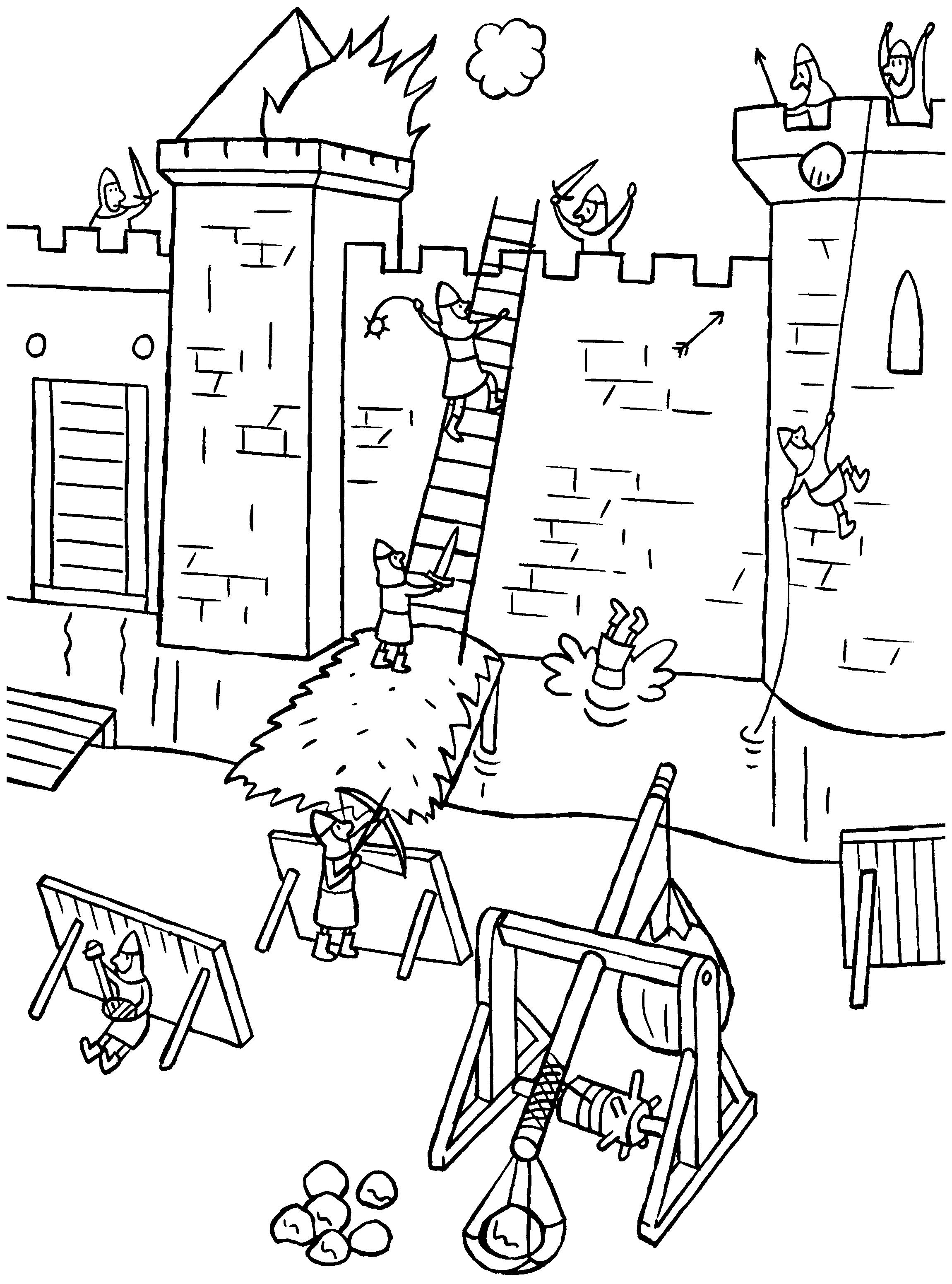 het kasteel wordt aangevallen middeleeuwse ridder