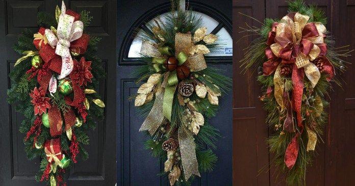 Guirnalda navide a para decorar la puerta navidad for Guirnaldas para puertas navidenas