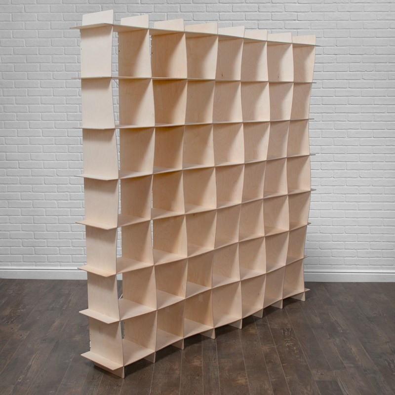 Extra Large Wave Wood Modern Bookcase