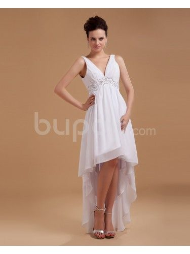 Satin V-Neckline Knee-Length Column Wedding Dress with Embroidered