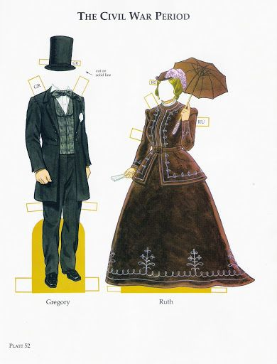 American Family Paper Dolls from the Pilgrim Period to the Civil War by Tom Tierney - Dover Publications, Inc.,2002: Plate 52 (of 60)