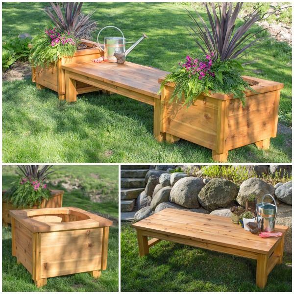 Beautify Your Backyard By Building Your Own Cedar Bench And Matching Planter Boxes Find The Free Project Plans