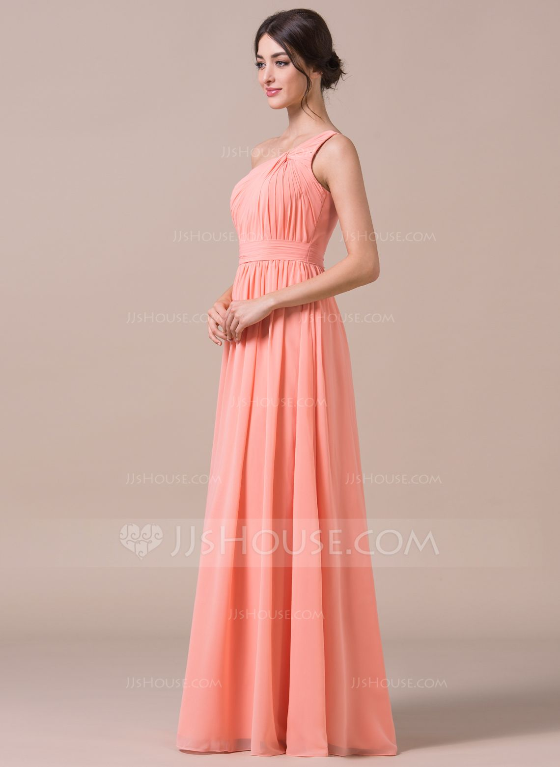 A-Line/Princess One-Shoulder Floor-Length Chiffon Bridesmaid Dress ...