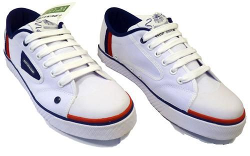 50% Off! DUNLOP GREENFLASH MENS RETRO INDIE STRIPE TRAINERS (White/
