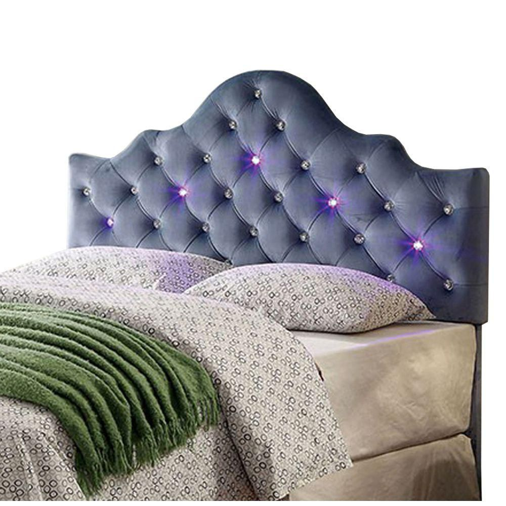 Benzara Blue King Size Contemporary Headboard In Leatherette With