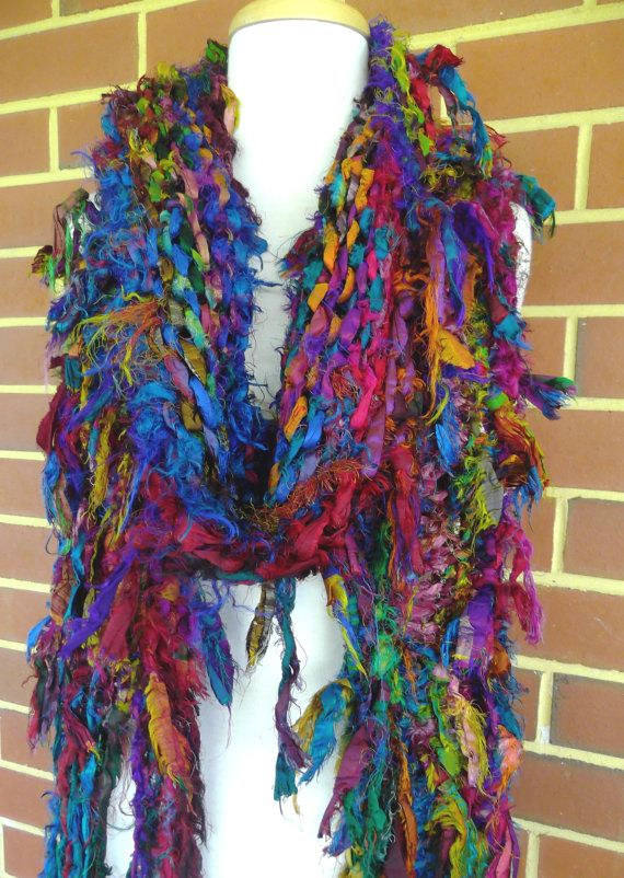 Hand Knitted Raggy Tattered Rainbow Recycled Sari Silk Scarf ...
