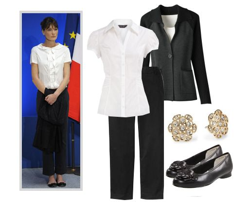 First Lady fashion for work -  Get Carla Bruni-Sarkozy's chic office style for less.